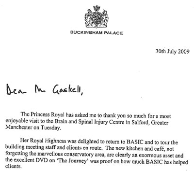 Letter from Buckingham Palace to FoodLove