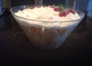 White chocolate & raspberry trifle