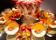 Trifle surrounded by boozy orange jellies with Panna Cotta
