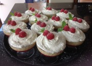 Individual white chocolate and raspberry trifles